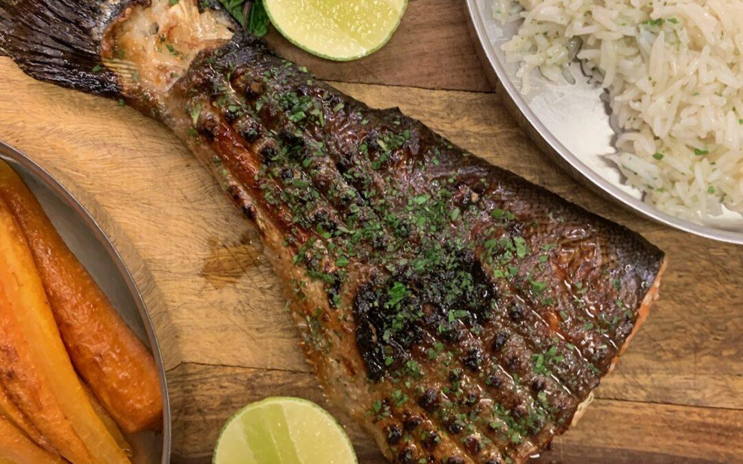Barbecued Ora king Salmon Tail